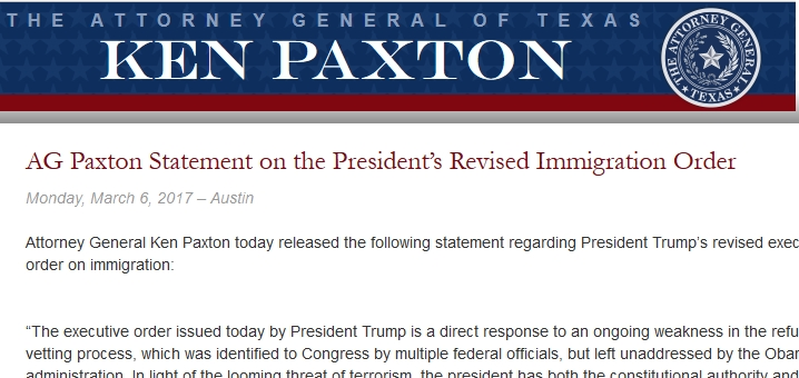 Attorney General Paxton Statement on Revised Immigration Order