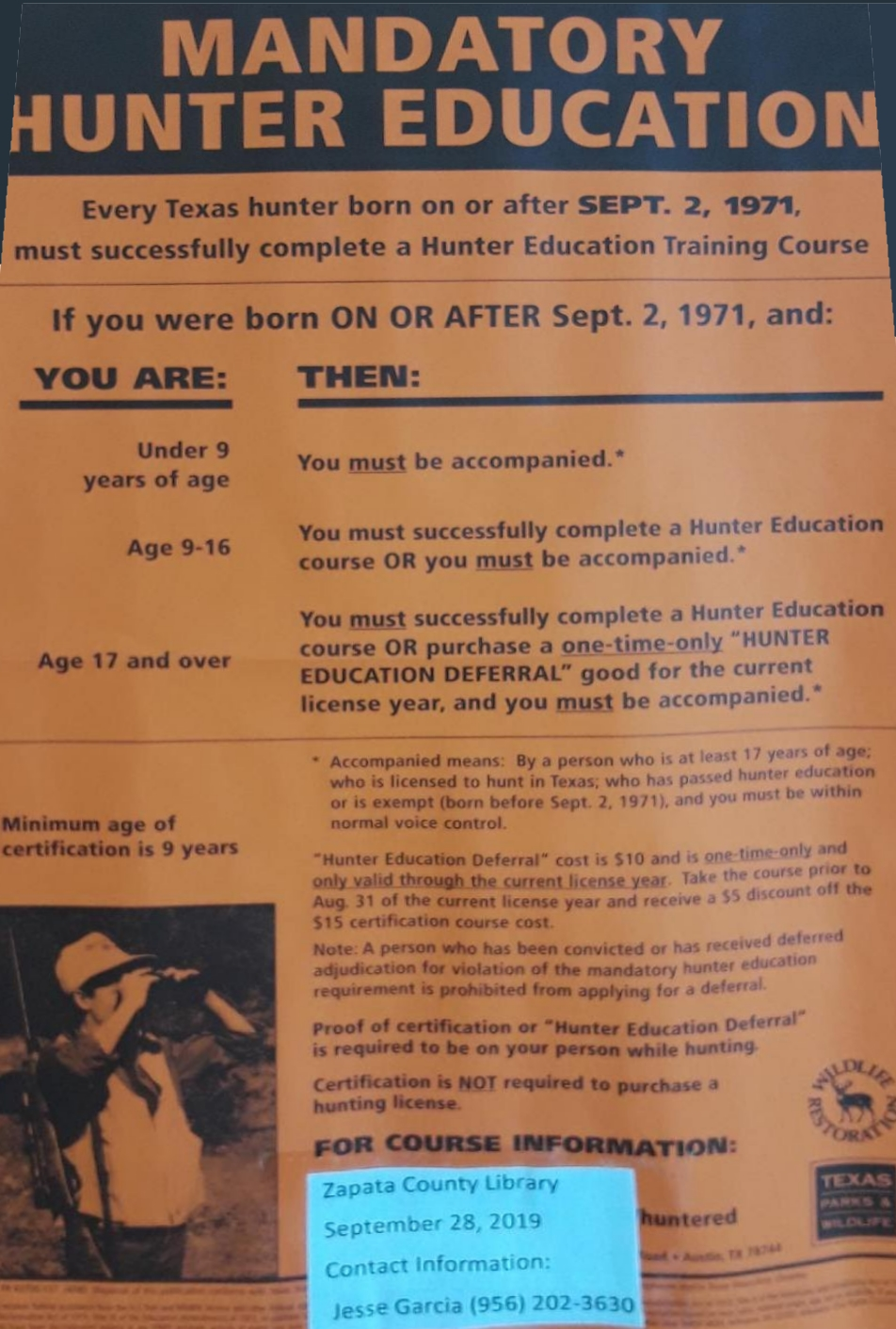 Hunter Education Training Course - Zapata, TX