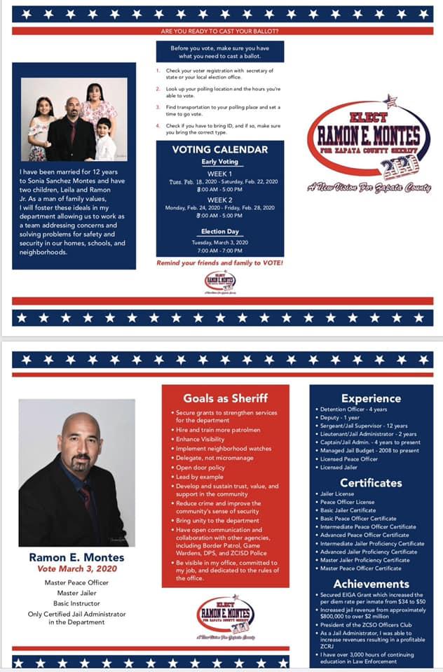 Ramon E. Montes - For Zapata County Sheriff